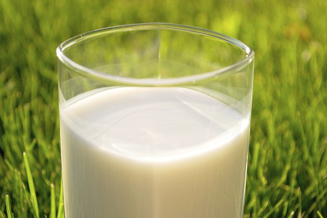 Close up of a glass of milk