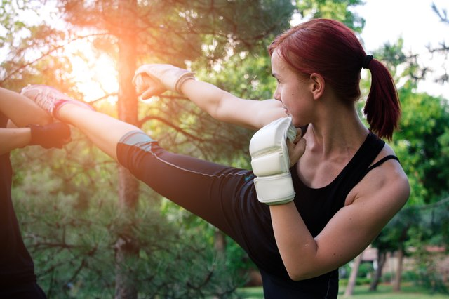 Although it won't help you gain weight, kickboxing can help you gain muscle.