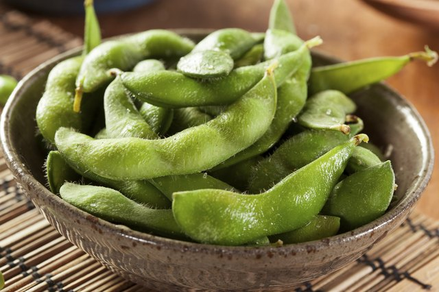 A bowl of steamed edamame.