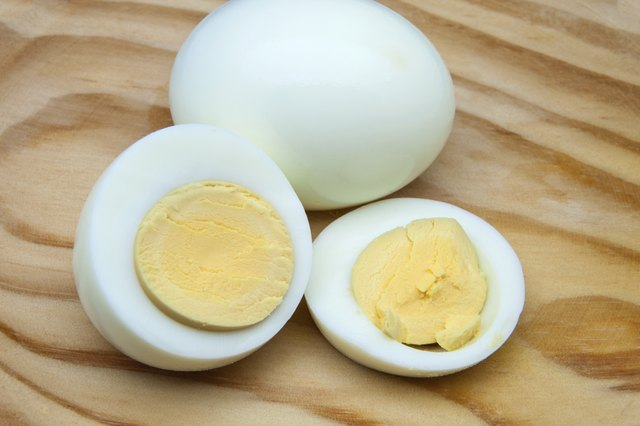 sliced boiled egg on counter