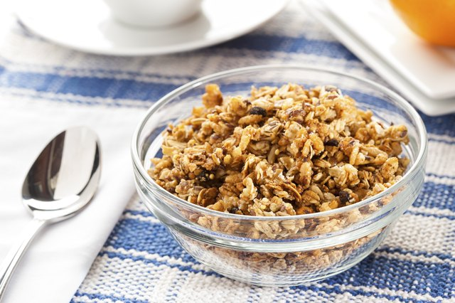 homemade sweetened granola bowl
