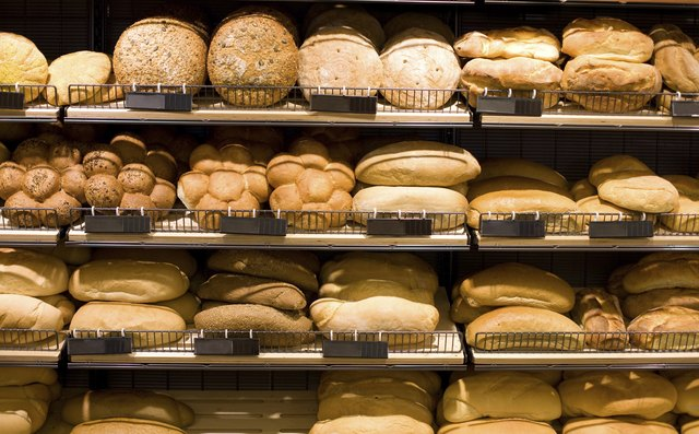 Bread on display at a bakery.