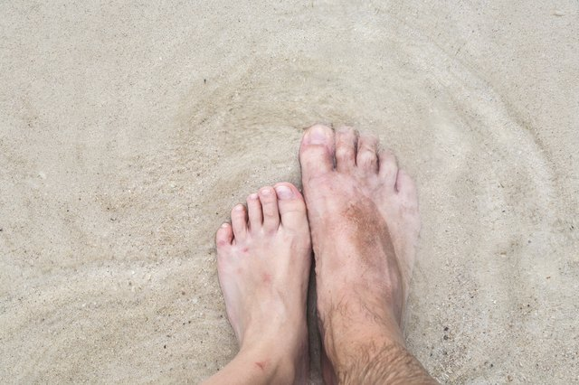 Man with feet in sand