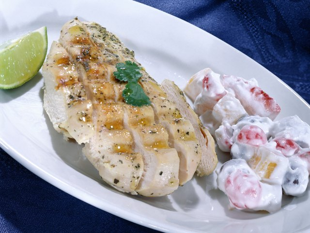 Chicken and turkey breast are lean, protein-rich foods.
