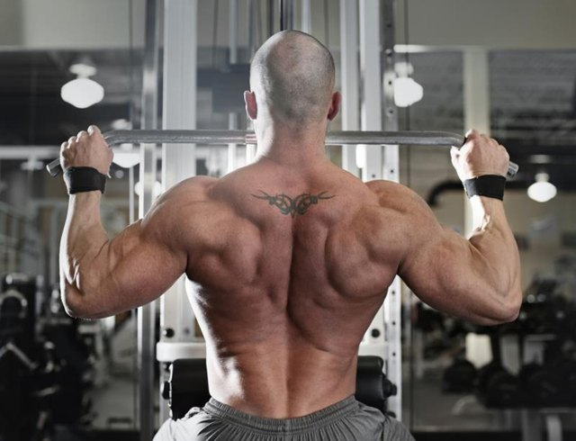 A lat pull-down targets the latissimus dorsi, among other back muscles.