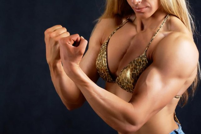 Competitive female body builders often have diminished breast size because they'r so very lean.