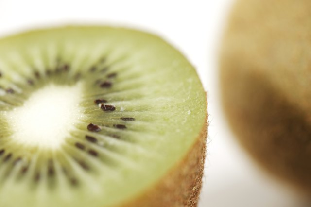 A close-up of a sliced kiwi.