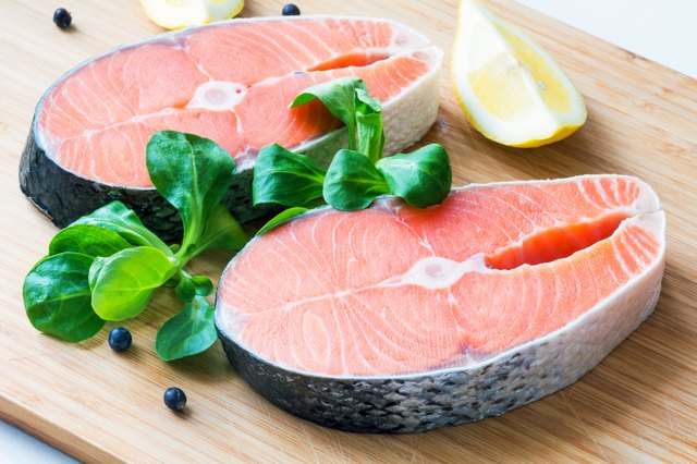 Fresh raw salmon steaks.
