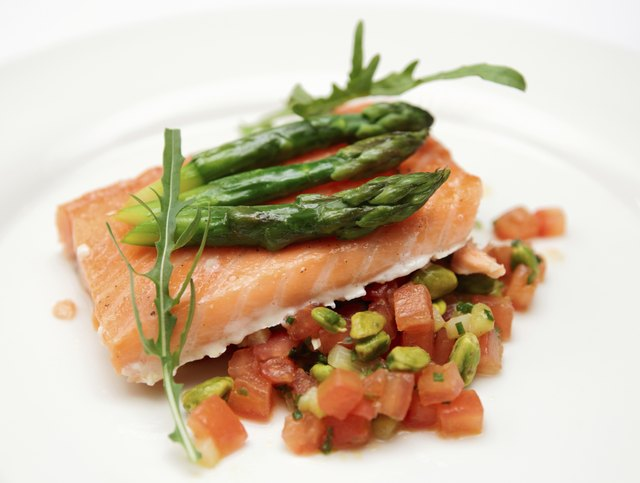 Salmon and asparagus.