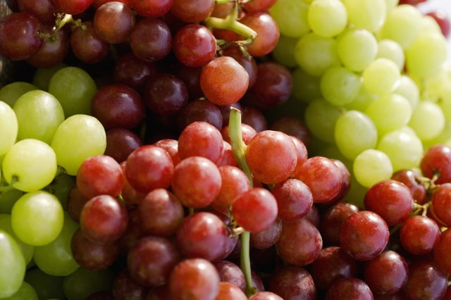 Grapes provide a small amount of iron and vitamin A.