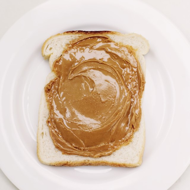 Peanut butter on bread.