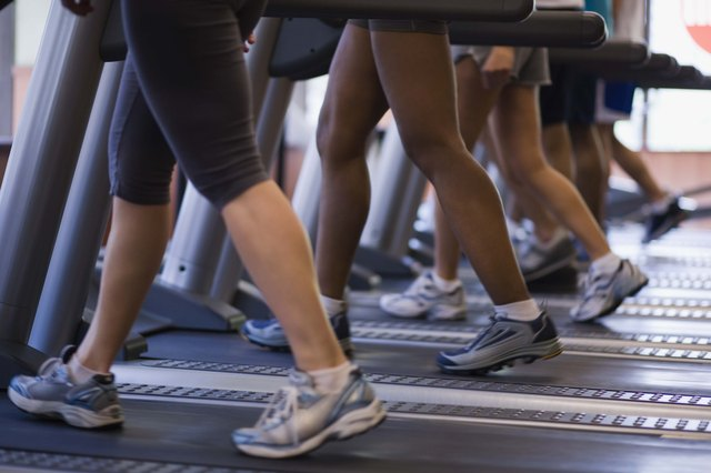Several people exercising on treadmills inside a gym.