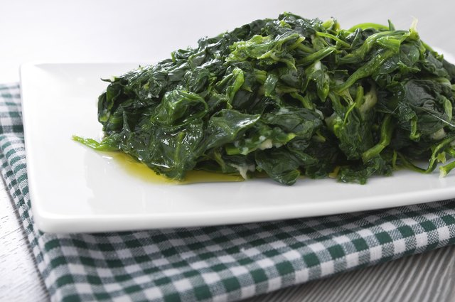 Boiled spinach.