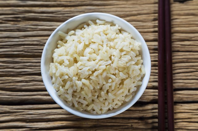 Steamed brown rice.
