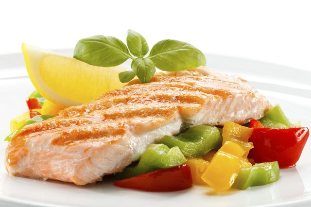 Salmon and vegetables.