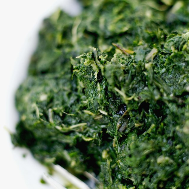 A bowl of chopped spinach.