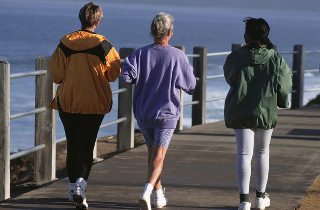 Three women walking along pier