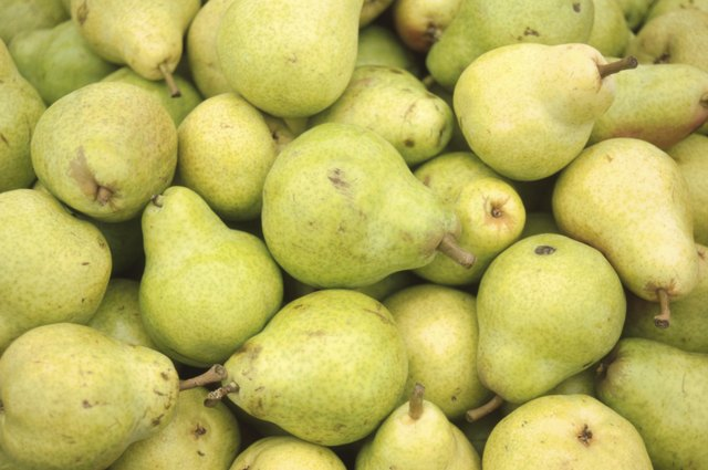 Pears for sale at a market.