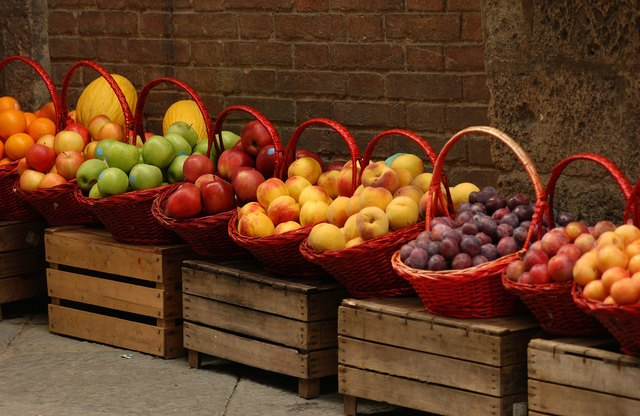 Baskets of fruit at farmer's market