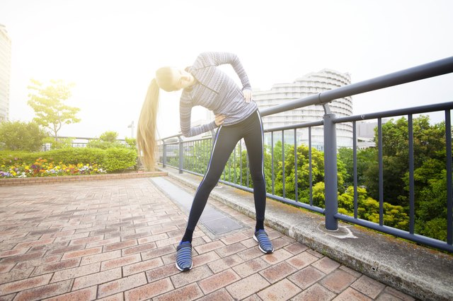 Don't forget to warm up with a short brisk walk or jog to wake up your muscles.