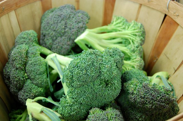 Fresh broccoli in a basket