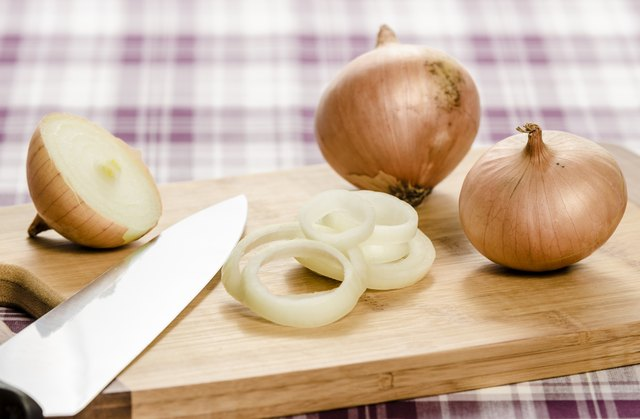 Onions on a cutting board