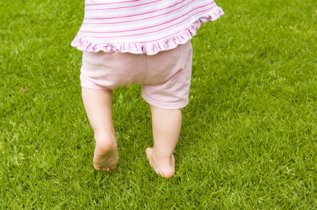 Toddler girl outdoors on grass.