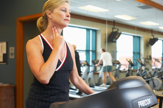 To determine if your pace is brisk enough, take a brief pause during your treadmill workout and press your fingers lightly against the carotid artery on the side of your neck.