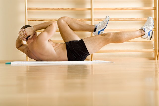 Bicycle crunches firm the stomach.