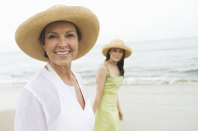 Mother and daughter wearing sunhat on beach