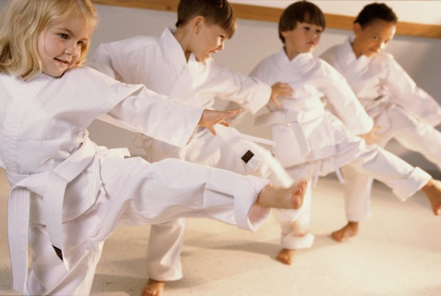 Group of children in karate class