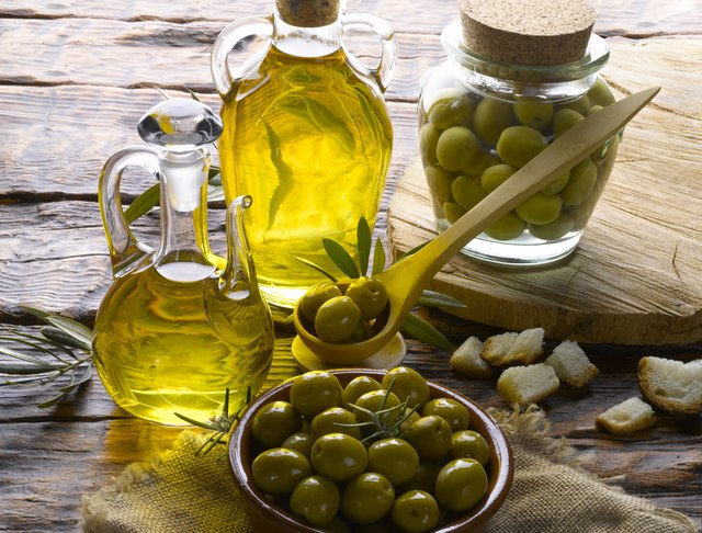 two bottles of organic olive oil