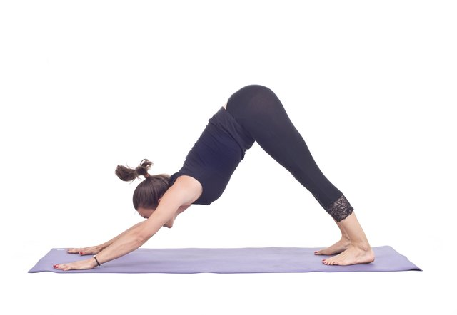 Downward dog pose in yoga.