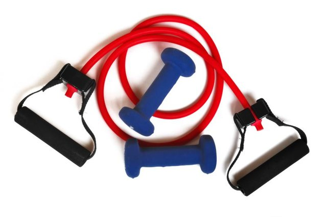 Exercise bands or hand weights can be used to activate the external rotation muscles during several different exercises.