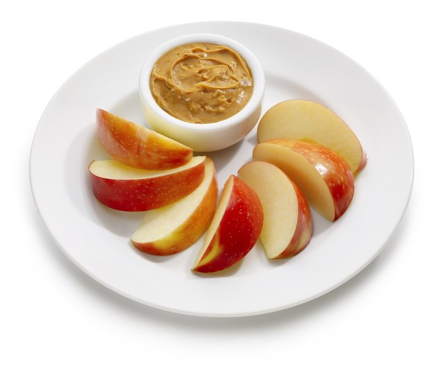 Peanut butter and apples are a good snack.