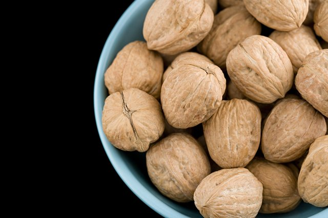 Walnuts in a light blue bowl