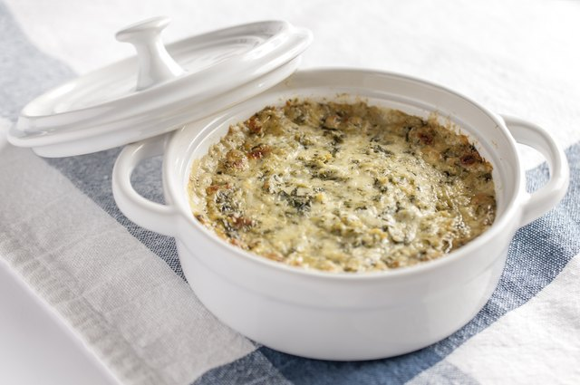 Spinach dip is a lower calorie snack option.