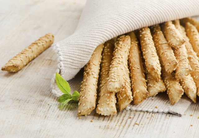 Bread sticks with sesame seeds.