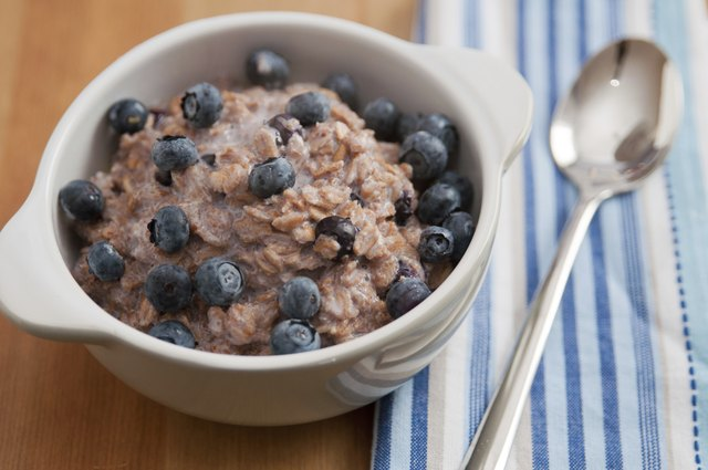 oatmeal bowl topped with blueberries