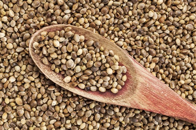 Dried hemp seeds and a rustic wooden spoon