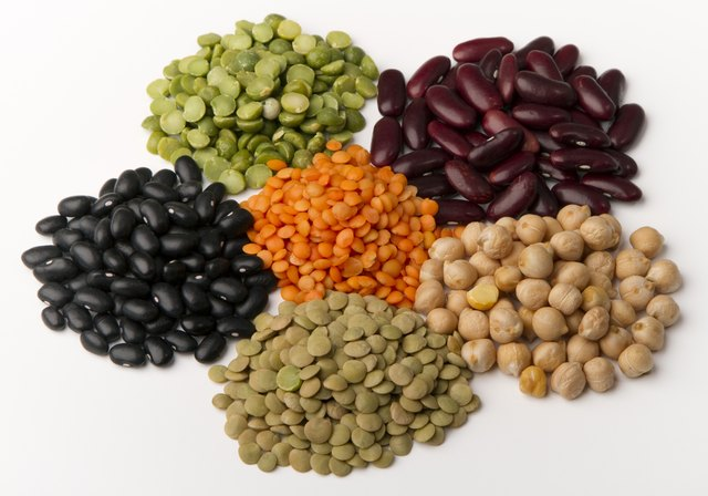 Assorted beans and legumes.