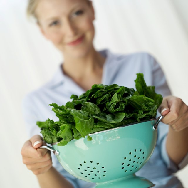 Colander of spinach.