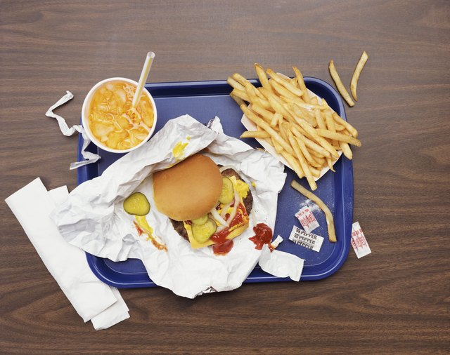A tray with fast food