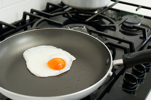 Cooking an egg.