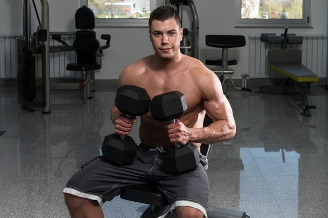 Use lighter dumbbells than you would for a decline chest press.