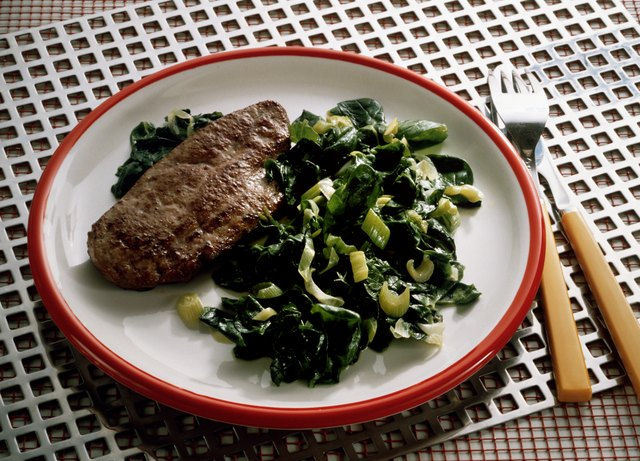 Beef liver with spinach.