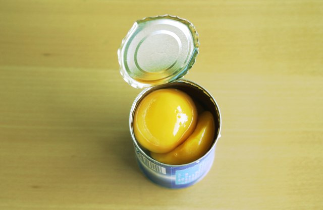Opened can of peaches