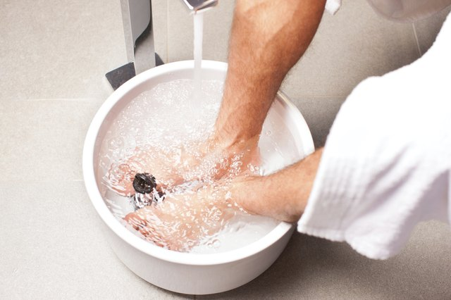 Man soaking feet