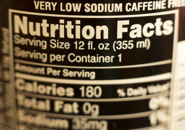 Detail of nutrition information label