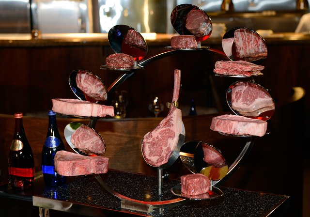 Steak trolley inside a restaurant